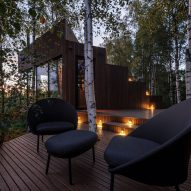 The decking outside a wood-clad cabin