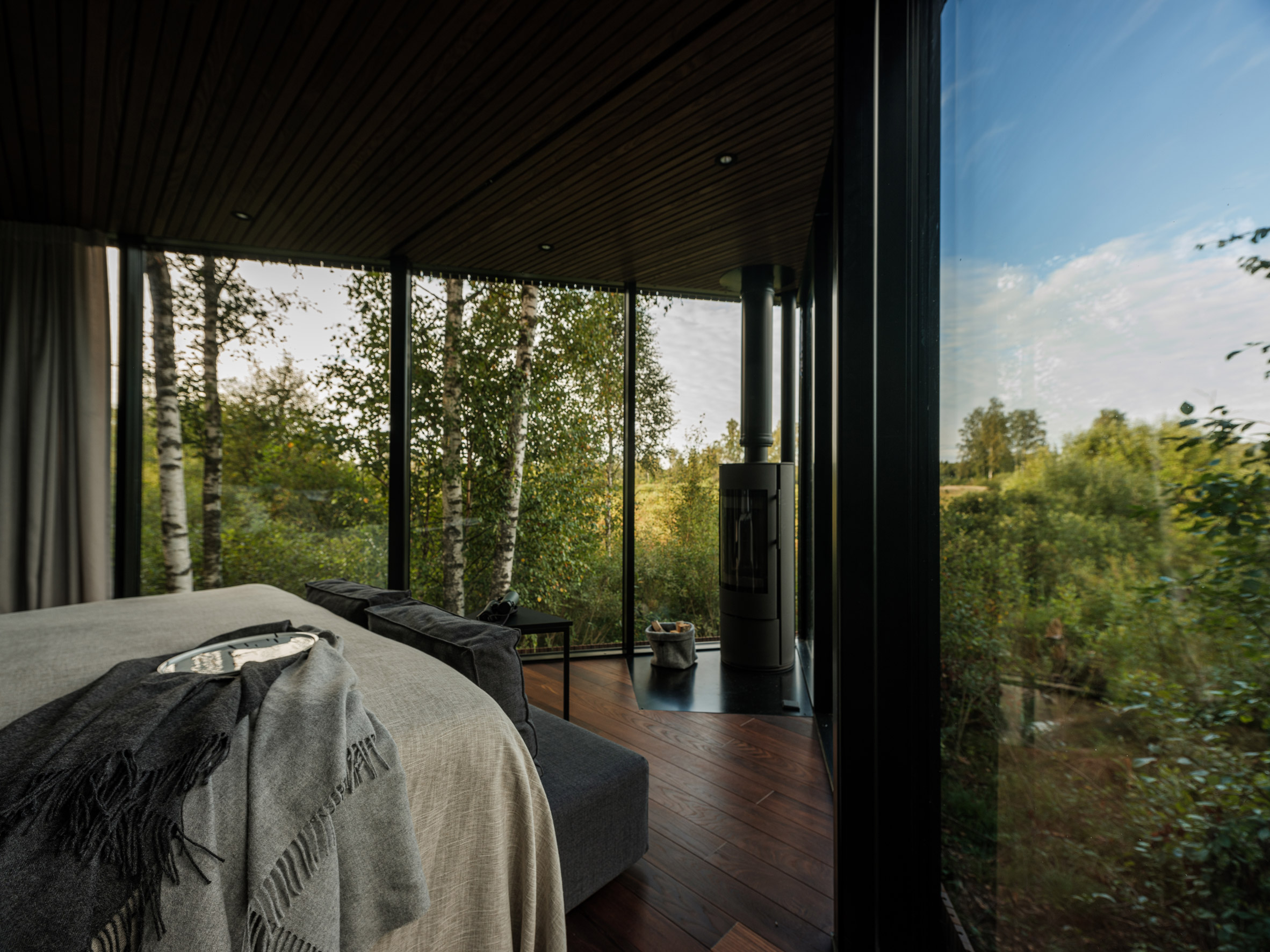 The interiors of a glass-walled cabin