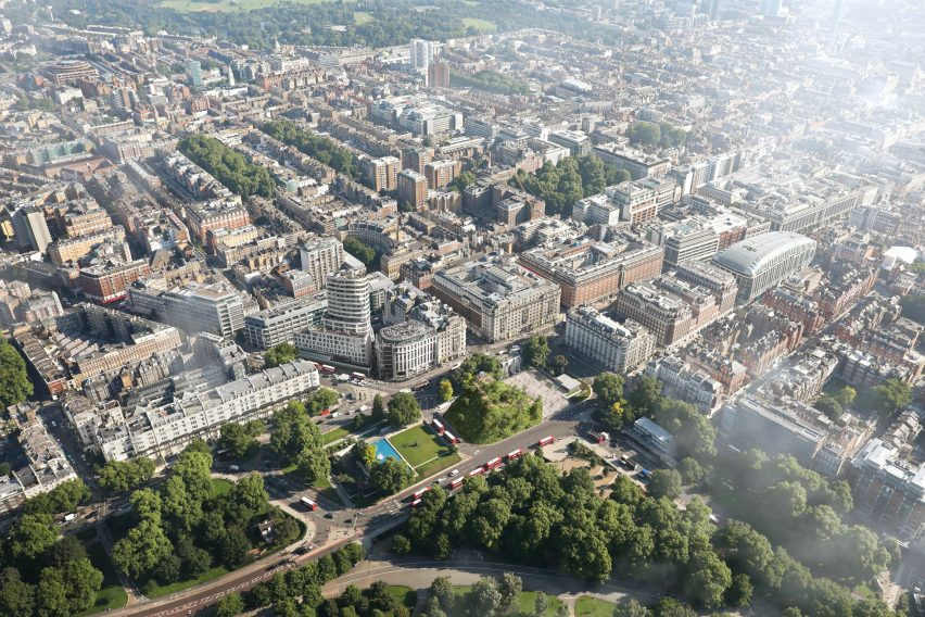 Aerial view of Marble Arch in central London