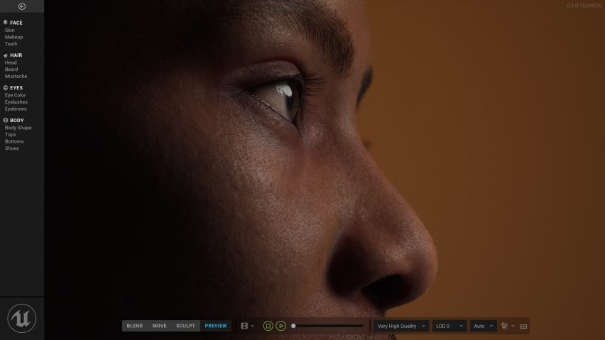 Close-up of digital human created using software by Epic Games and Unreal Engine