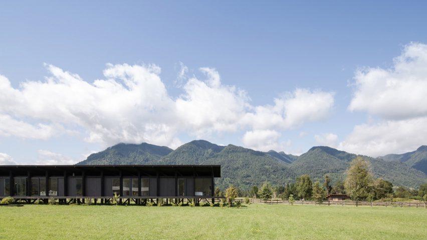 Distance view of Casa Tobita in Lago Ranco Chile