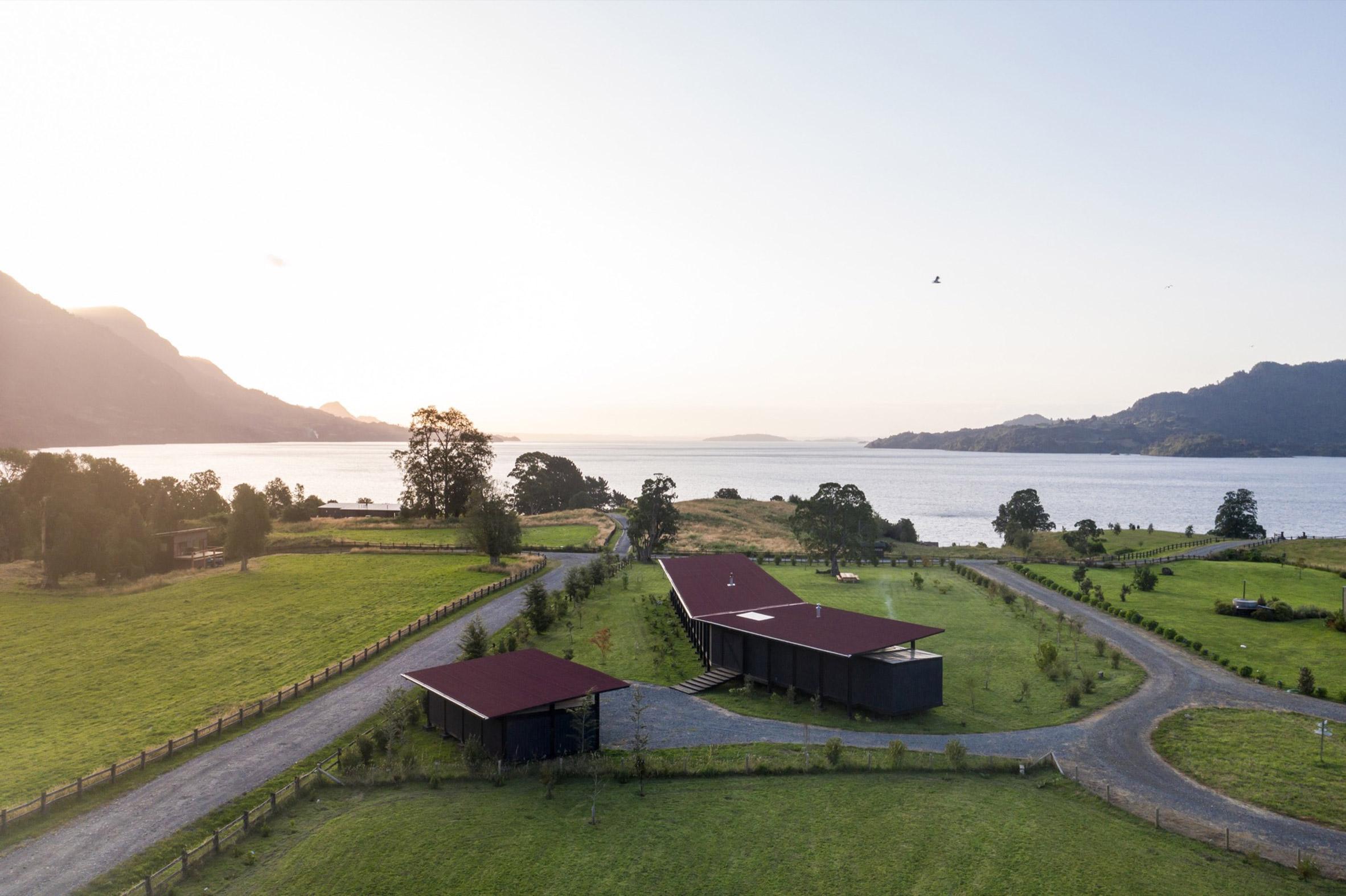 Aerial view of Casa Tobita in Lago Ranco Chile