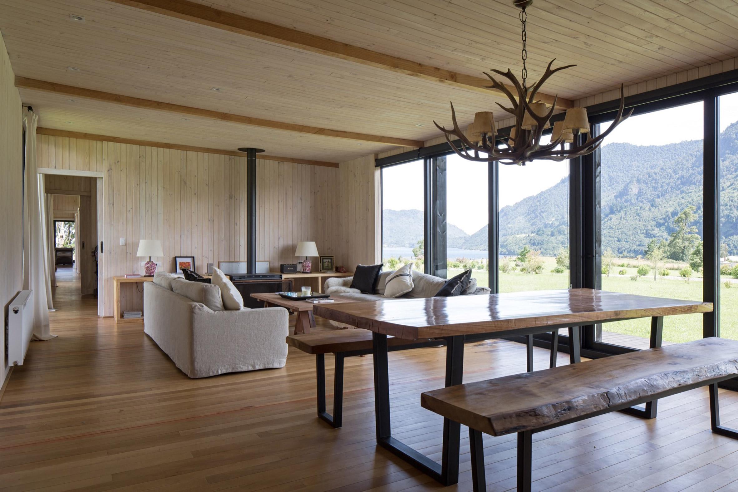 Living room of Casa Tobita in Lago Ranco Chile