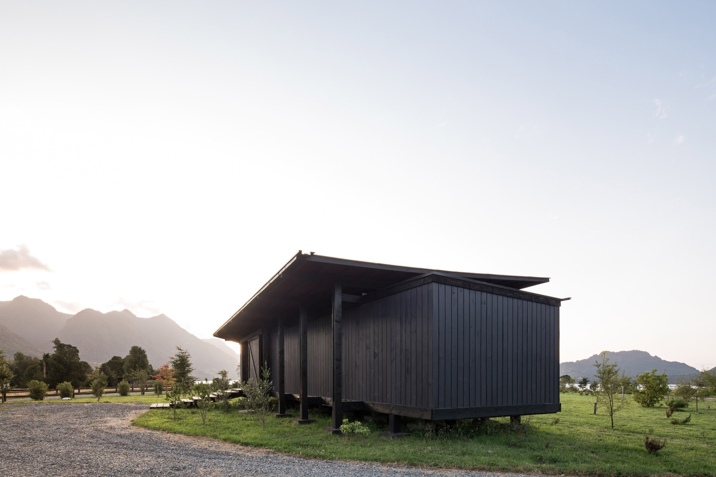 Elevated roof of Casa Tobita in Lago Ranco Chile