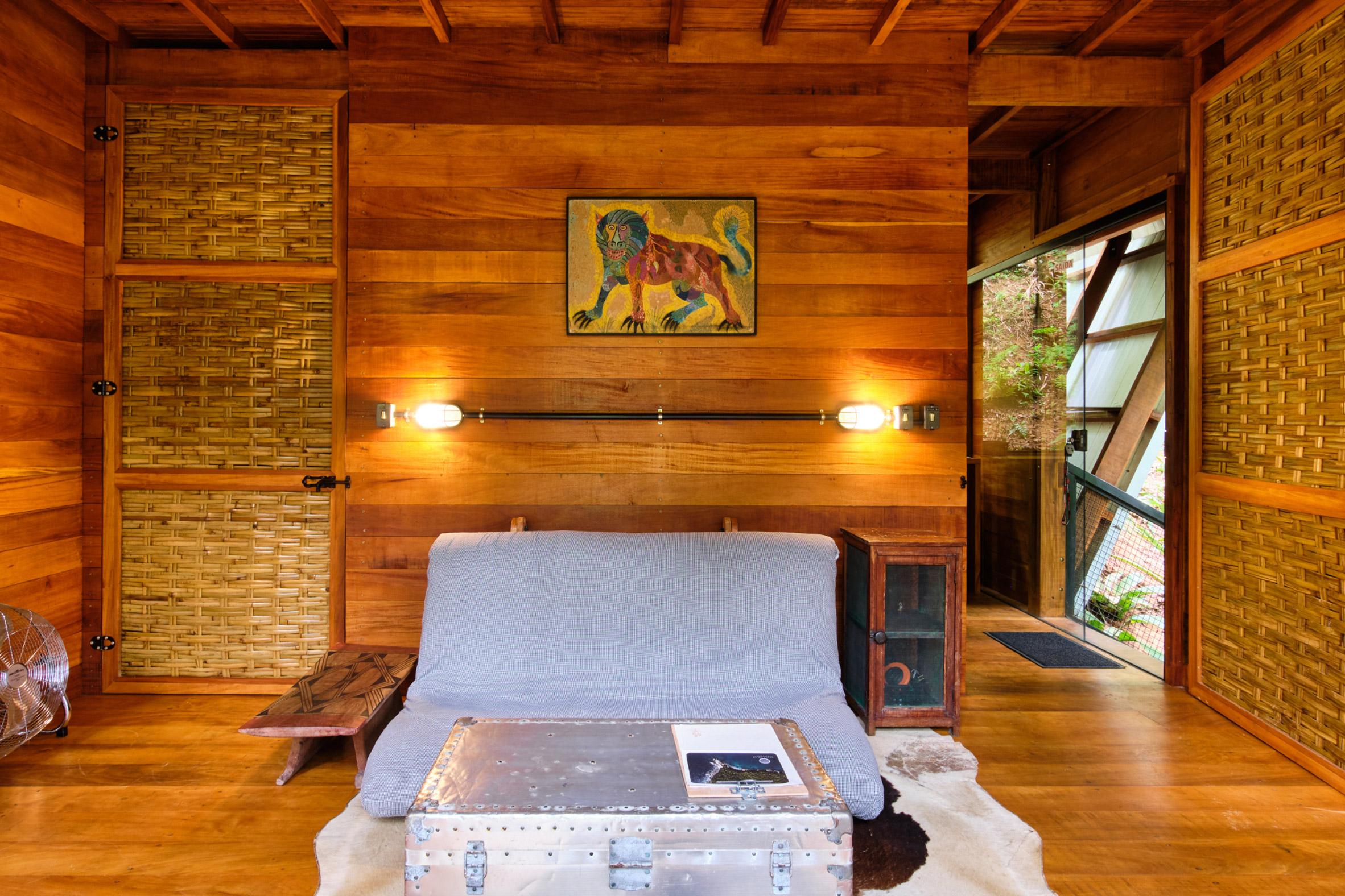 Living room interior of cabin in Brazil