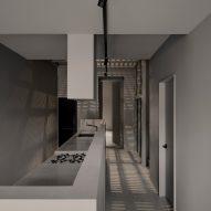Greige kitchen with steel ceiling grid