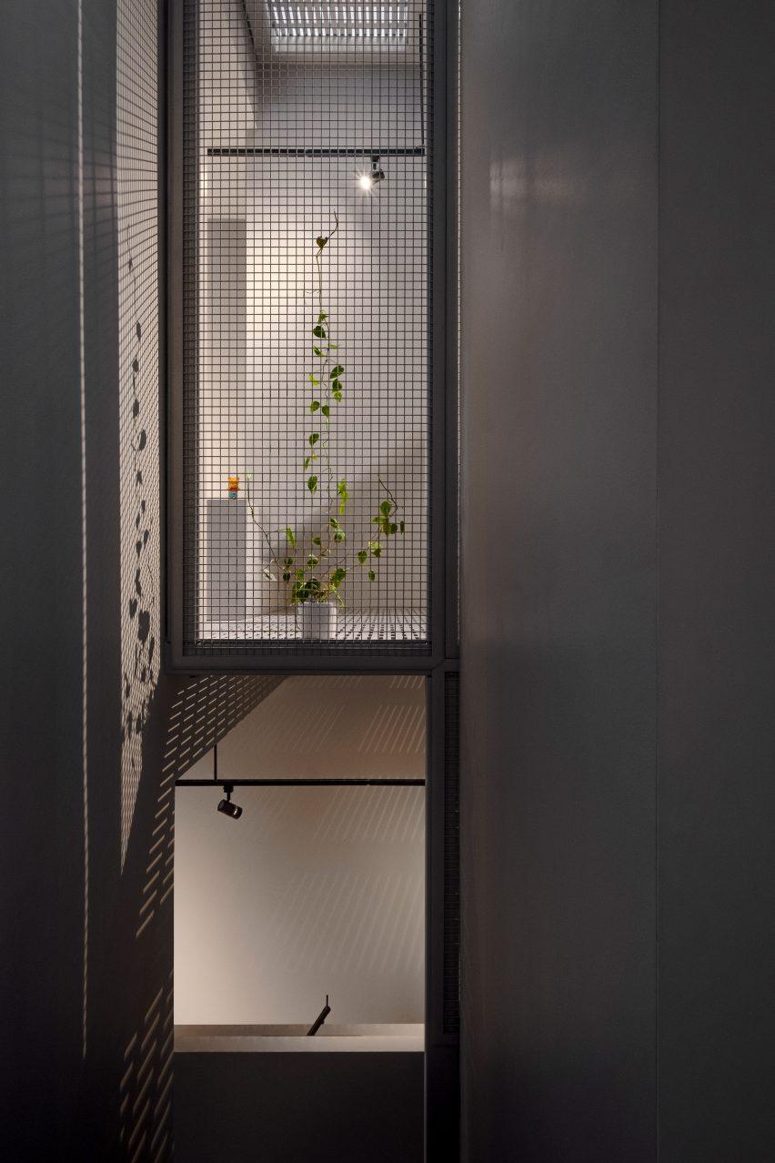 Steel mesh wall in residential building