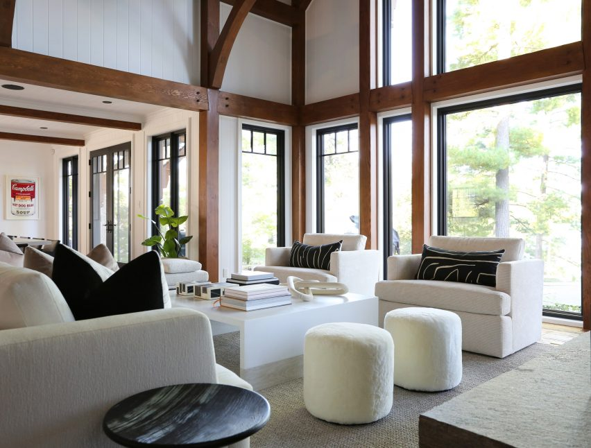 The Great Room's shearling poufs and armchairs