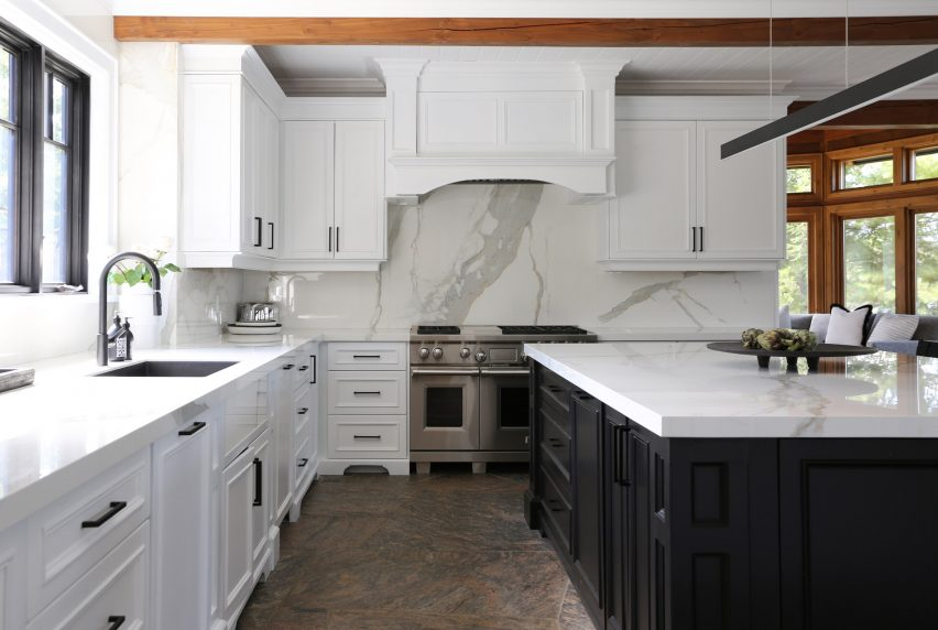The renovated black and white kitchen
