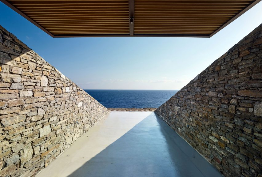 Terraces are divided by stone walls