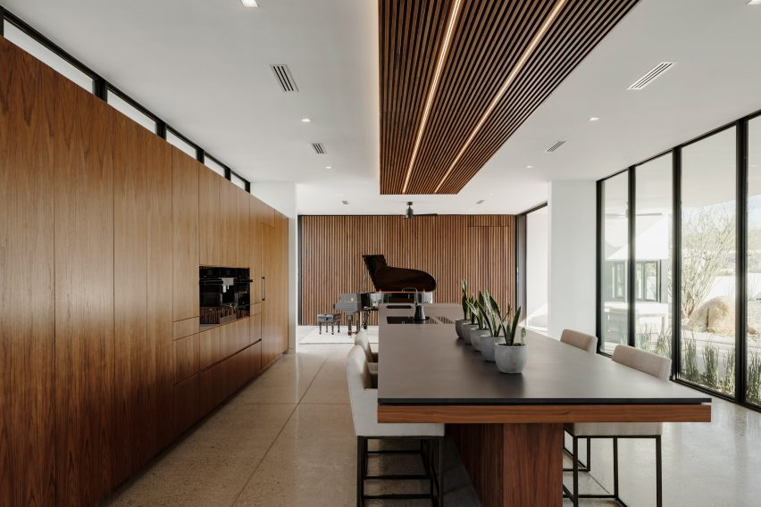 Walnut wood in kitchen and music room