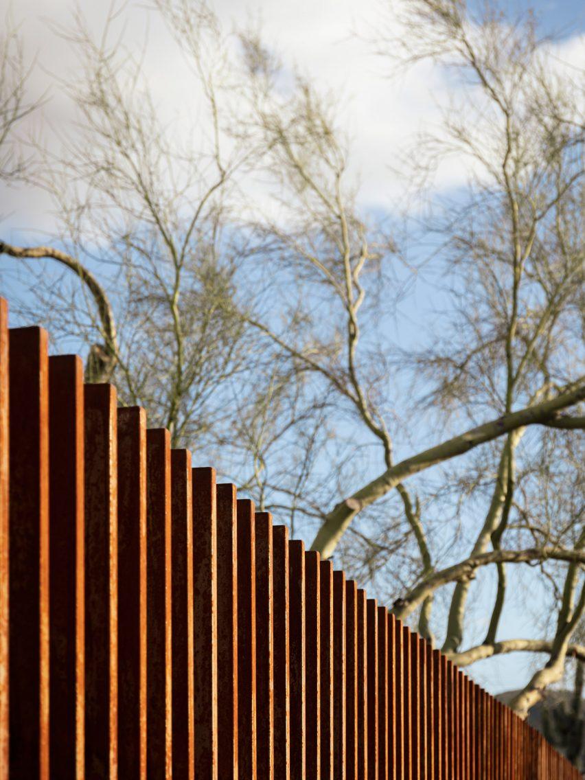 Weathering steel rattlesnake fence in Arizona