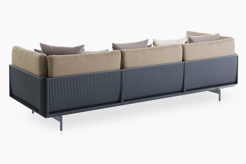 The corrugated metal back of a sofa by Luca Nichetto for Gandia Blasco