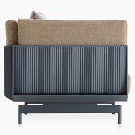 The metallic frame of an armchair by Luca Nichetto for Gandiablasco