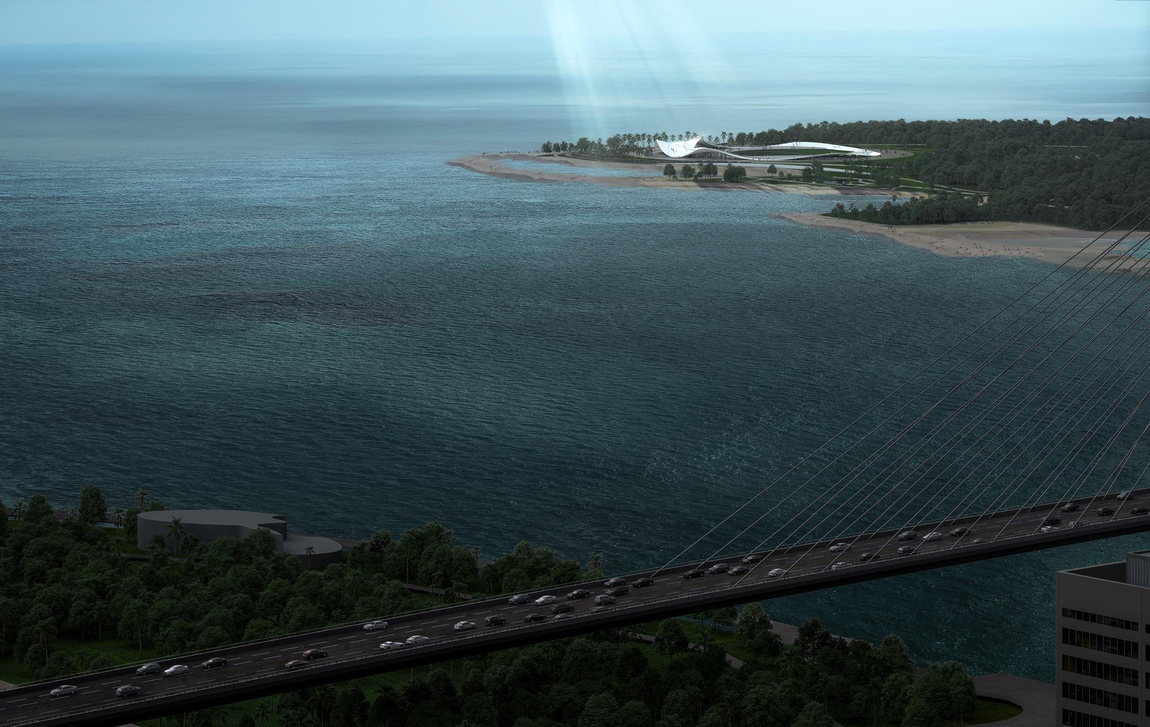 Visual of the seaside pavilion by Sou Fujimoto in Haikou