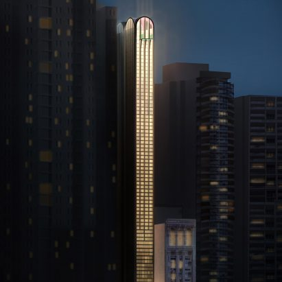 Pencil Tower Hotel skyscraper at 410 Pitt Street in Sydney by Durbach Block Jaggers