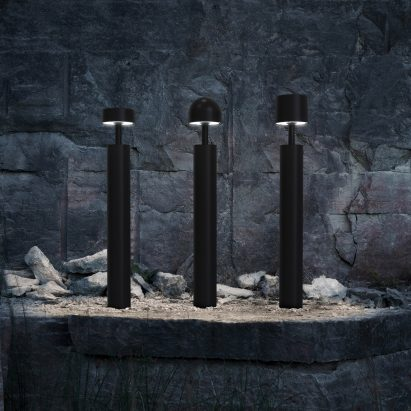 Plant bollard lights in black by Zero Lighting