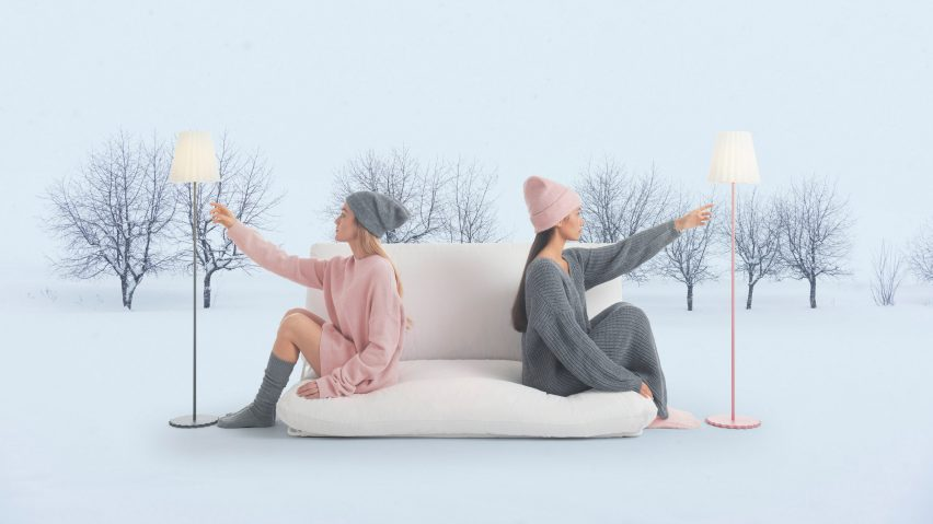 Plisy Up outdoor lamp in grey and pink