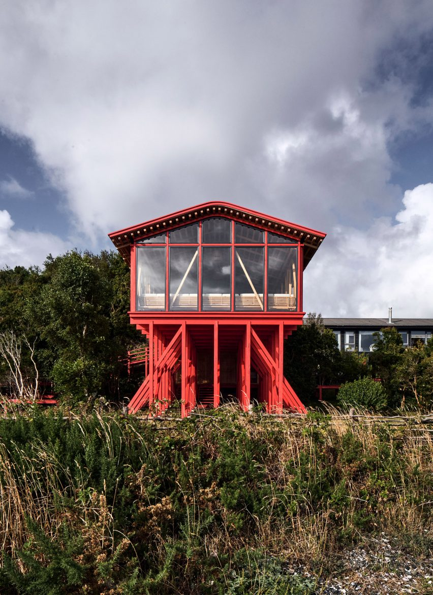 Exterior shot of house on stilts in Chile