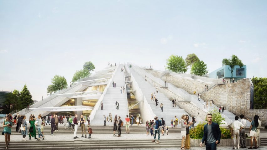 Render of Pyramid Tirana open to the public