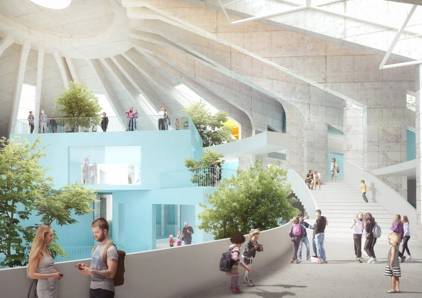 Wide stairs will circle the building by MVRDV