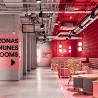 Masquespacio creates colour-blocked interiors for Bilbao student housing