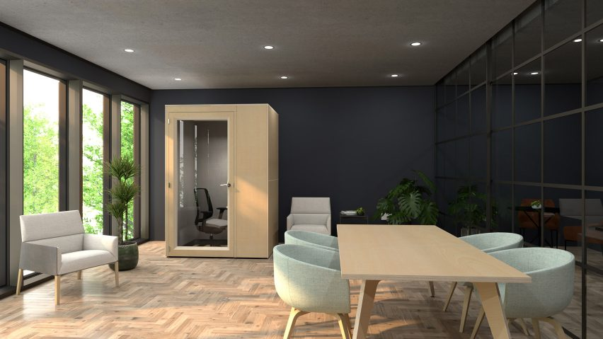 An office with a private booth