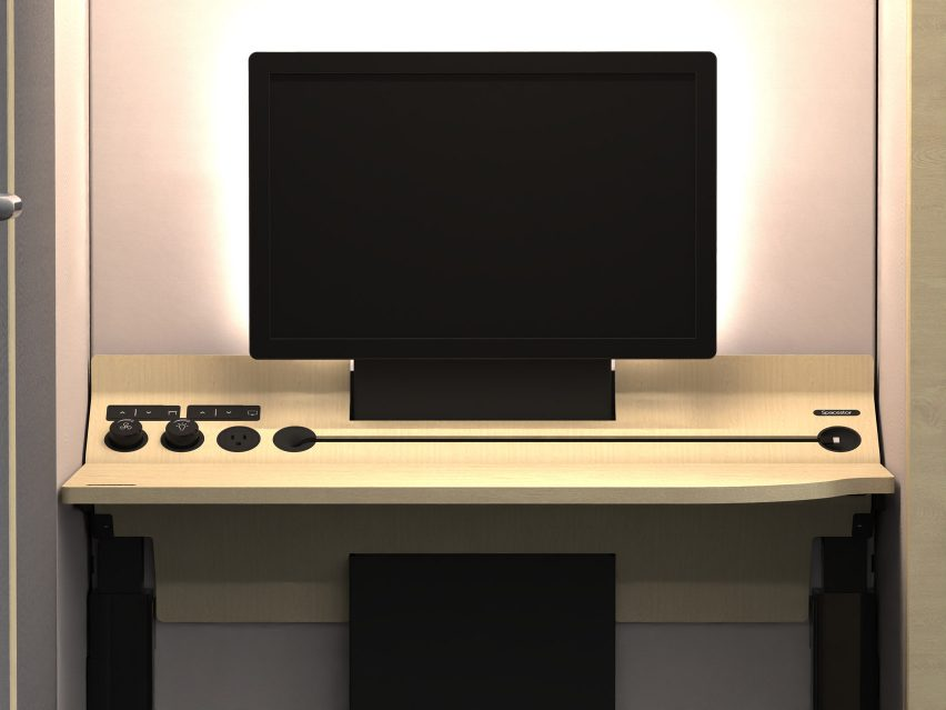 A visual of an adjustable desk and monitor