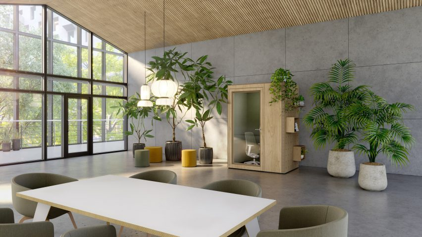 An office with a Residence Connect booth by Spacestor