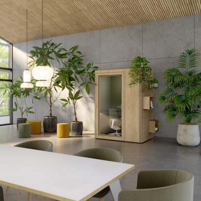 An office with a private booth by Spacestor