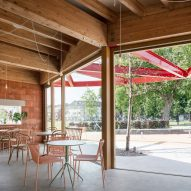 Restaurant with timber roof and concrete floor