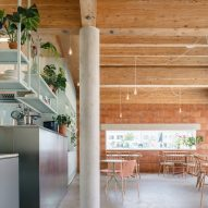Wooden ceiling and concrete pillar with plants