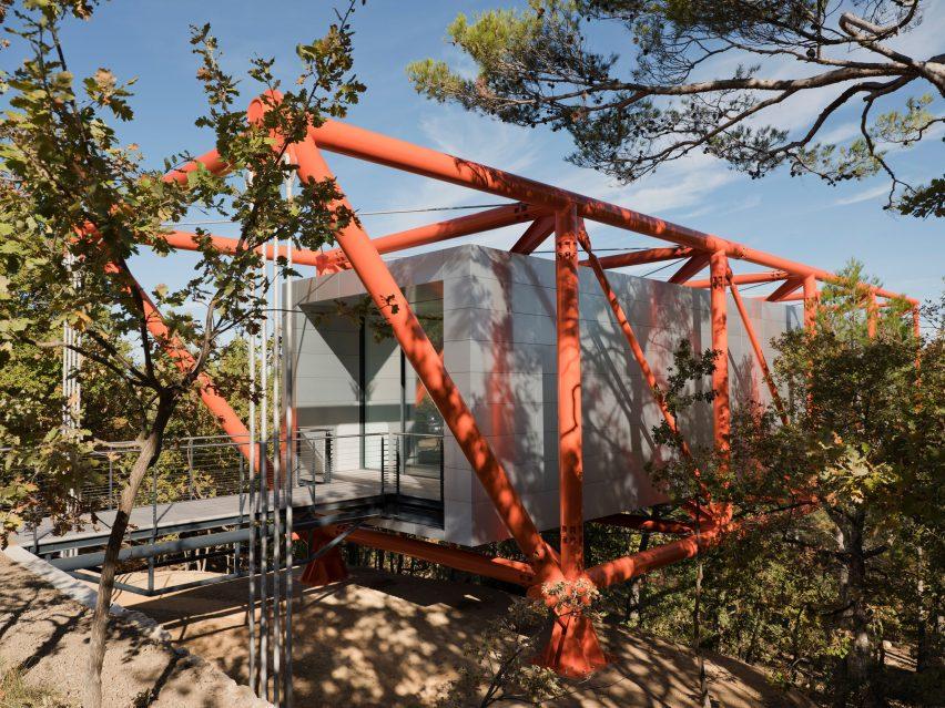 Bridge into art gallery at Château La Coste vineyard