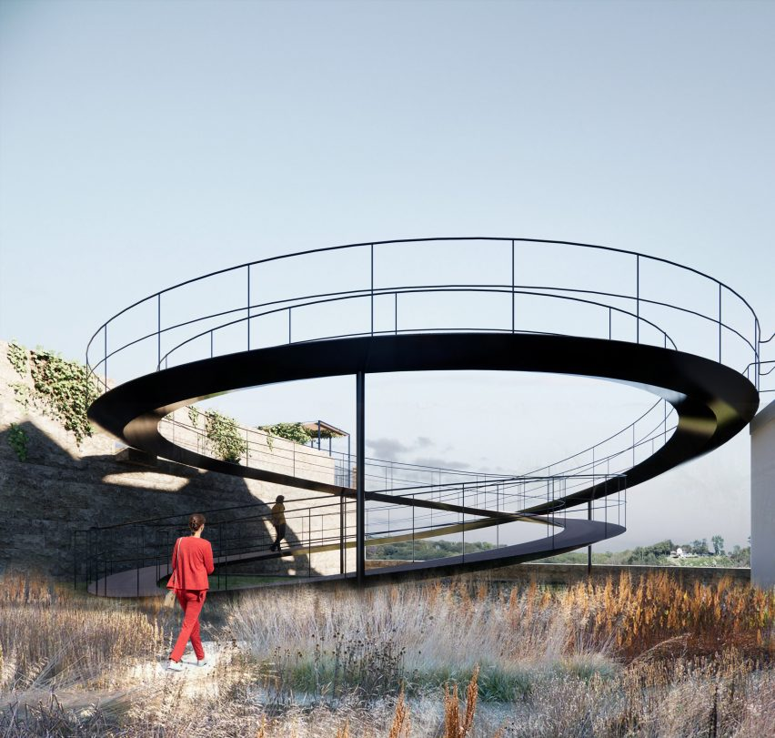 A garden with a spiralling ramp