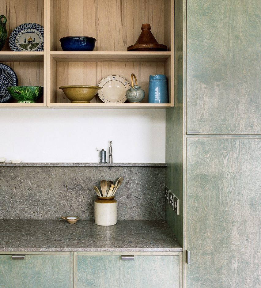 Stained-green kitchen cabinets