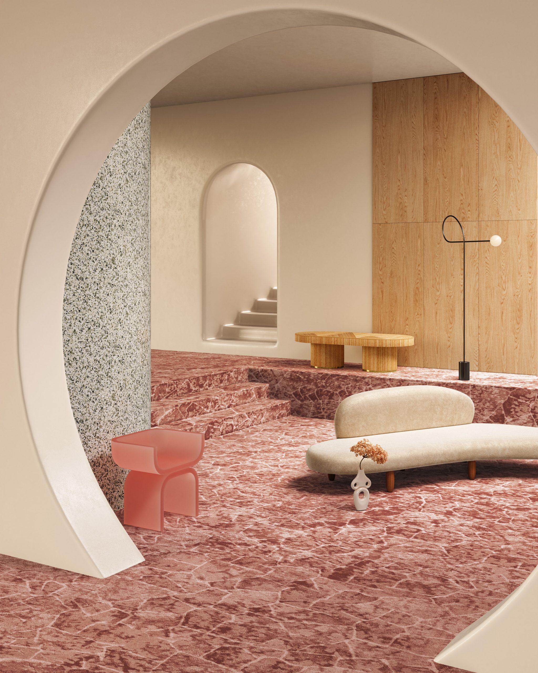 Tsar rust-coloured carpet in a minimal contemporary room