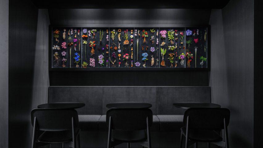 Floral artwork by Makoto Azuma in Tokyo restaurant by Snøhetta
