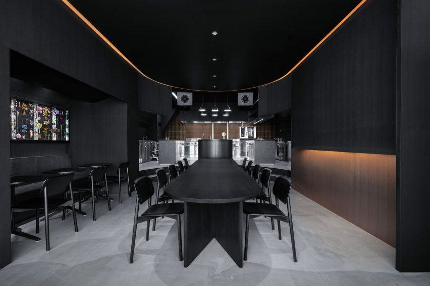 Dining area of of Tokyo restaurant by Snøhetta