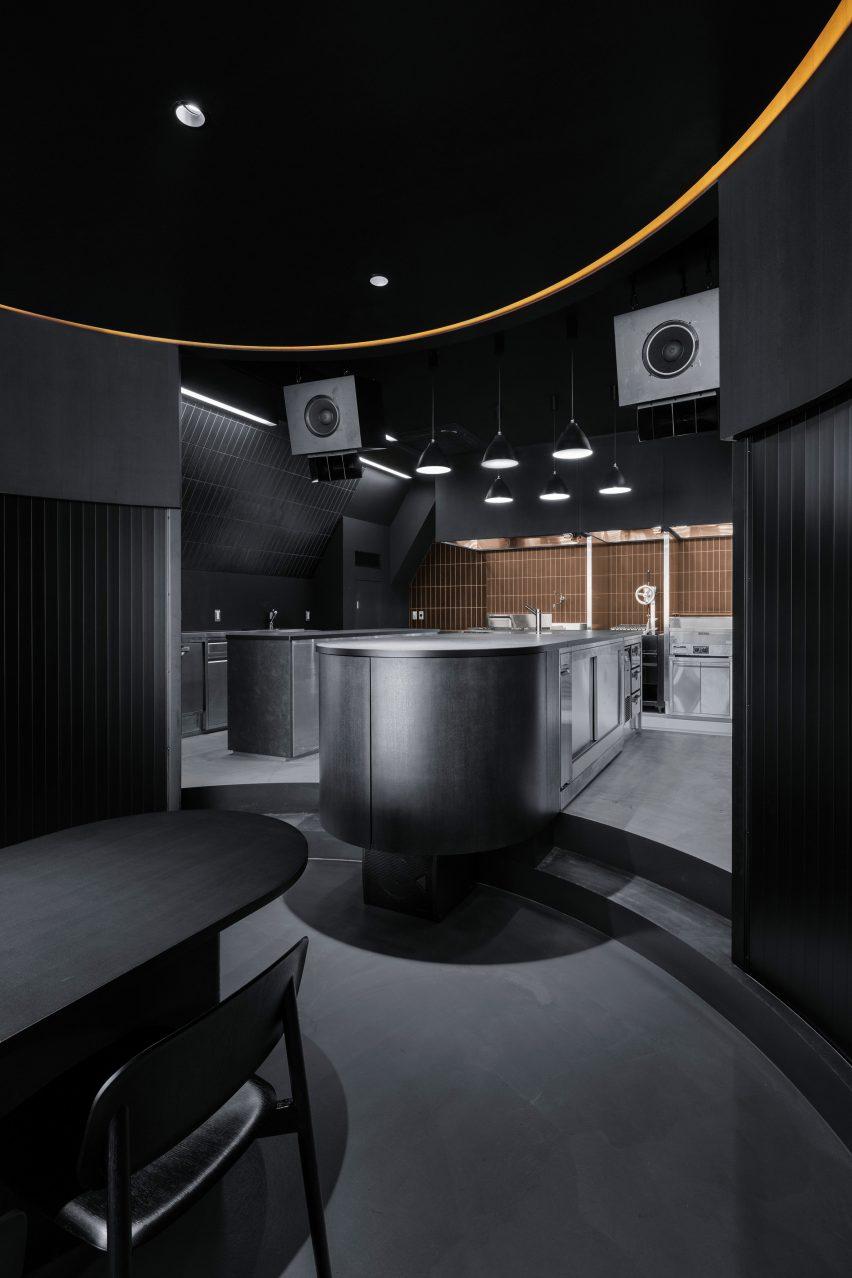 Steps leading up to the kitchen Tokyo's Burnside restaurant by Snøhetta