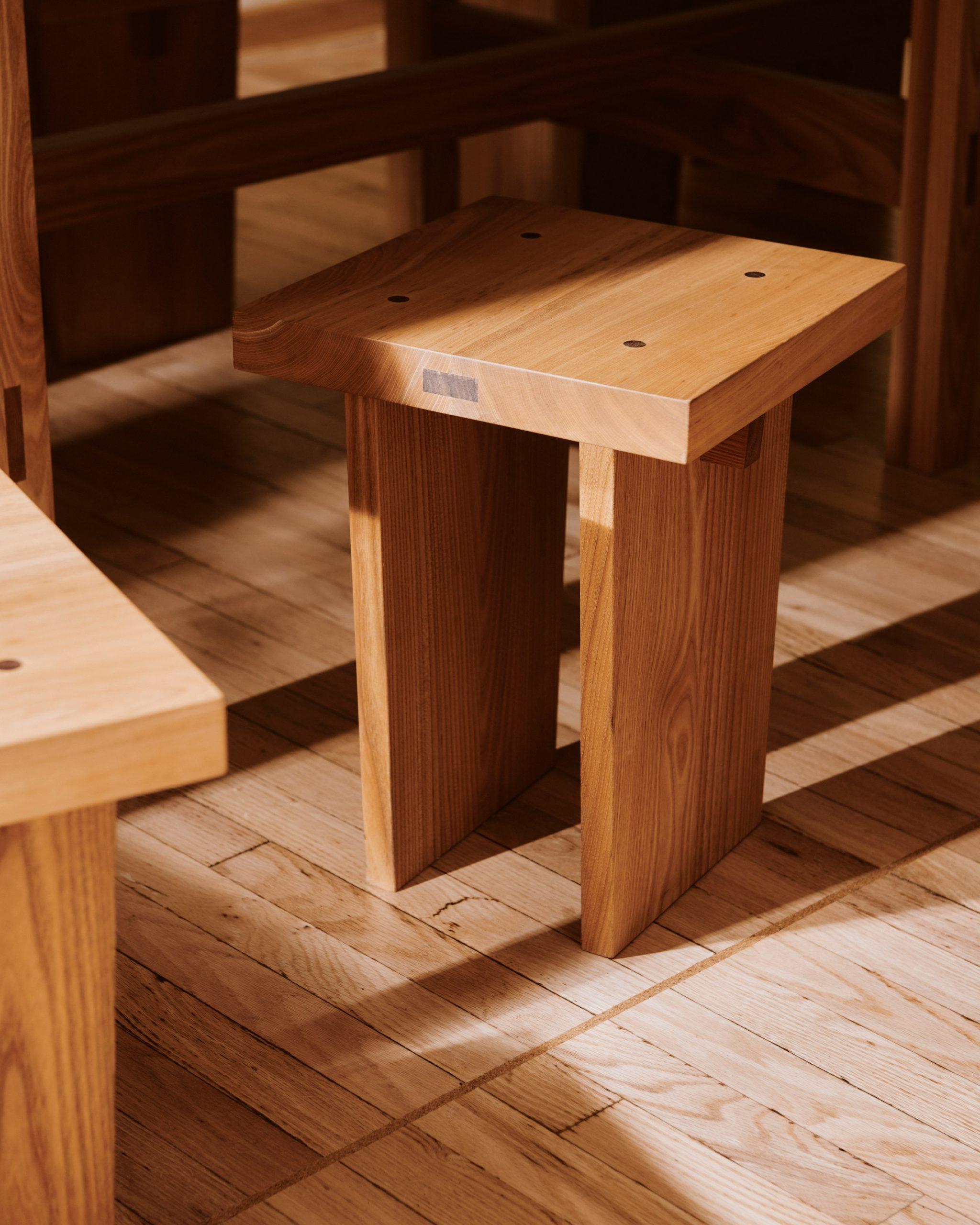 Wooden stools of Sofi bakery in Berlin by Mathias Mentze, Alexander Vedel Ottenstein and Dreimeta