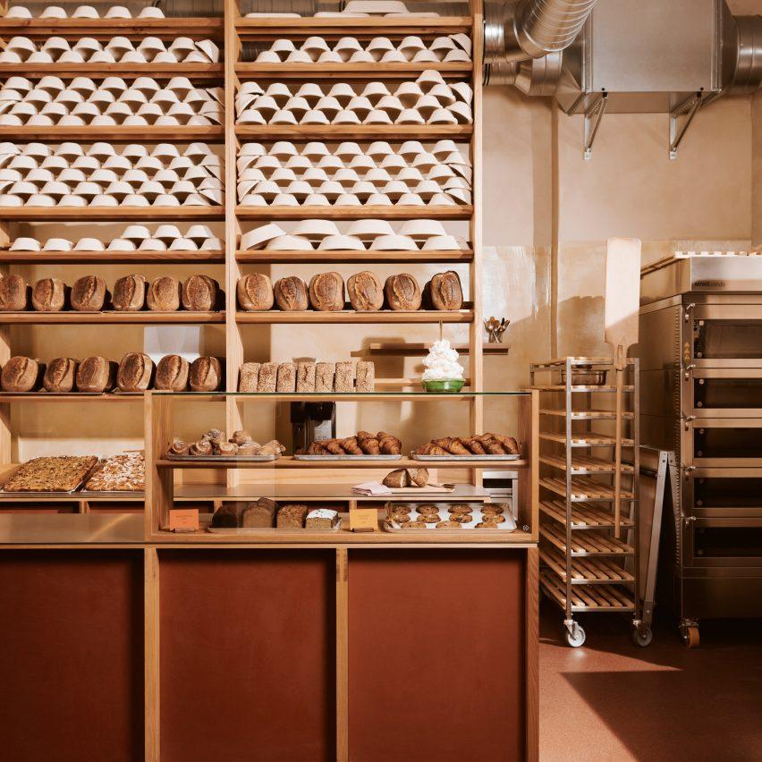 Counter and bread shelf of Sofi bakery in Berlin by Mathias Mentze, Alexander Vedel Ottenstein and Dreimeta