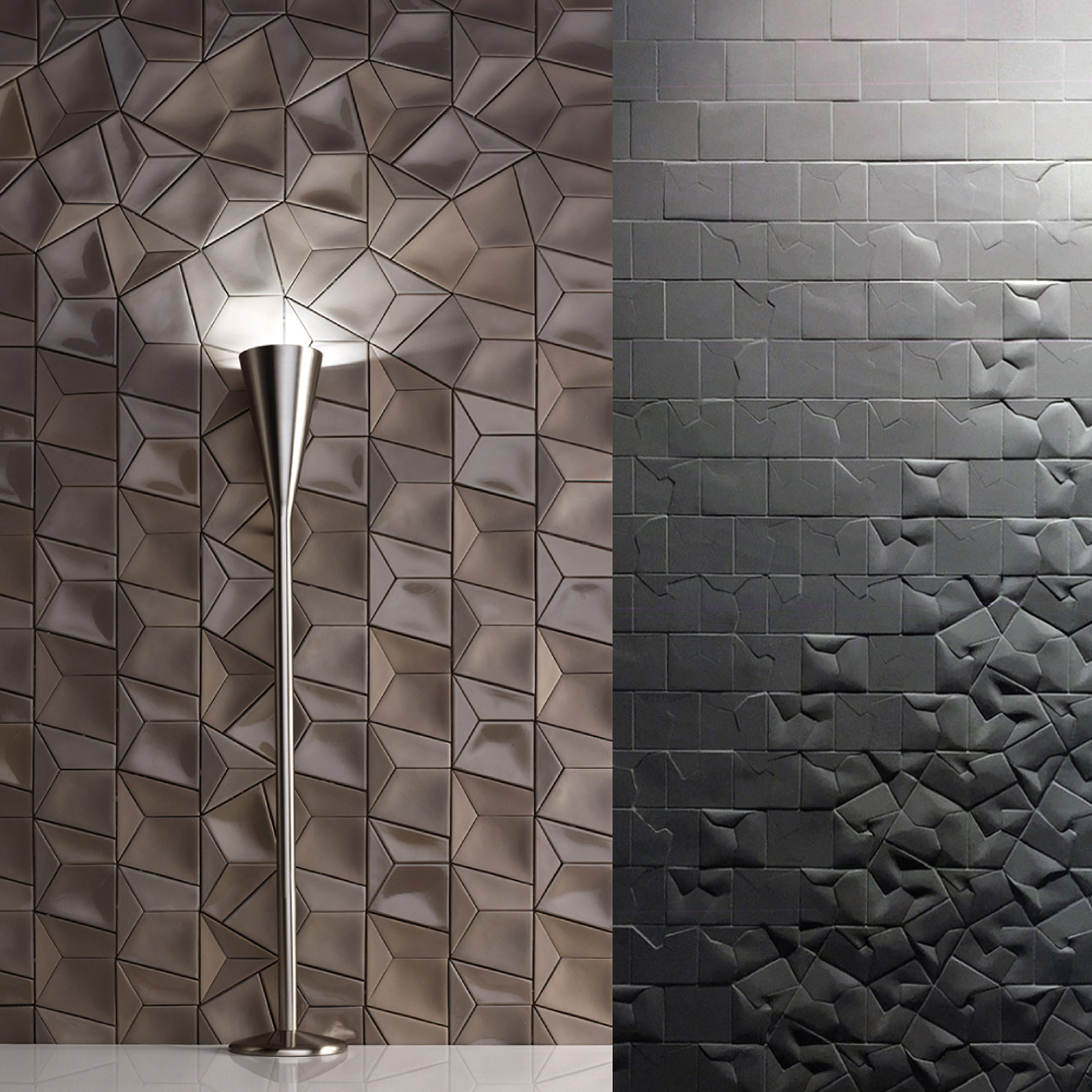 Variation of textured tiles in brown and dark grey