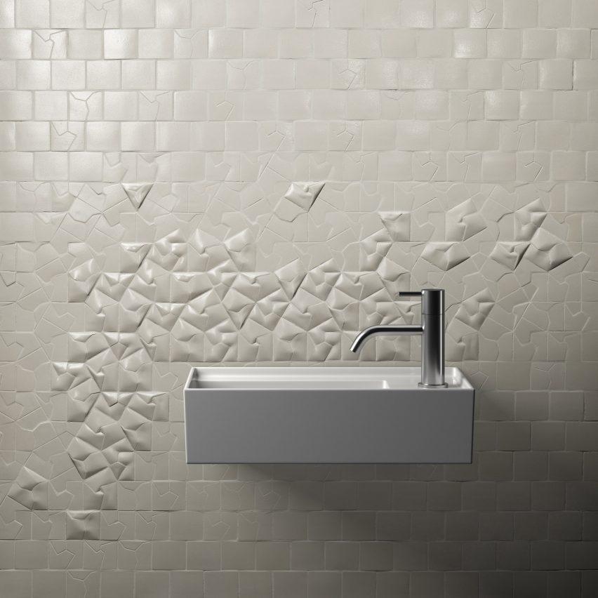 White Squar(e) tiles by Giovanni Barbieri on 3D wall