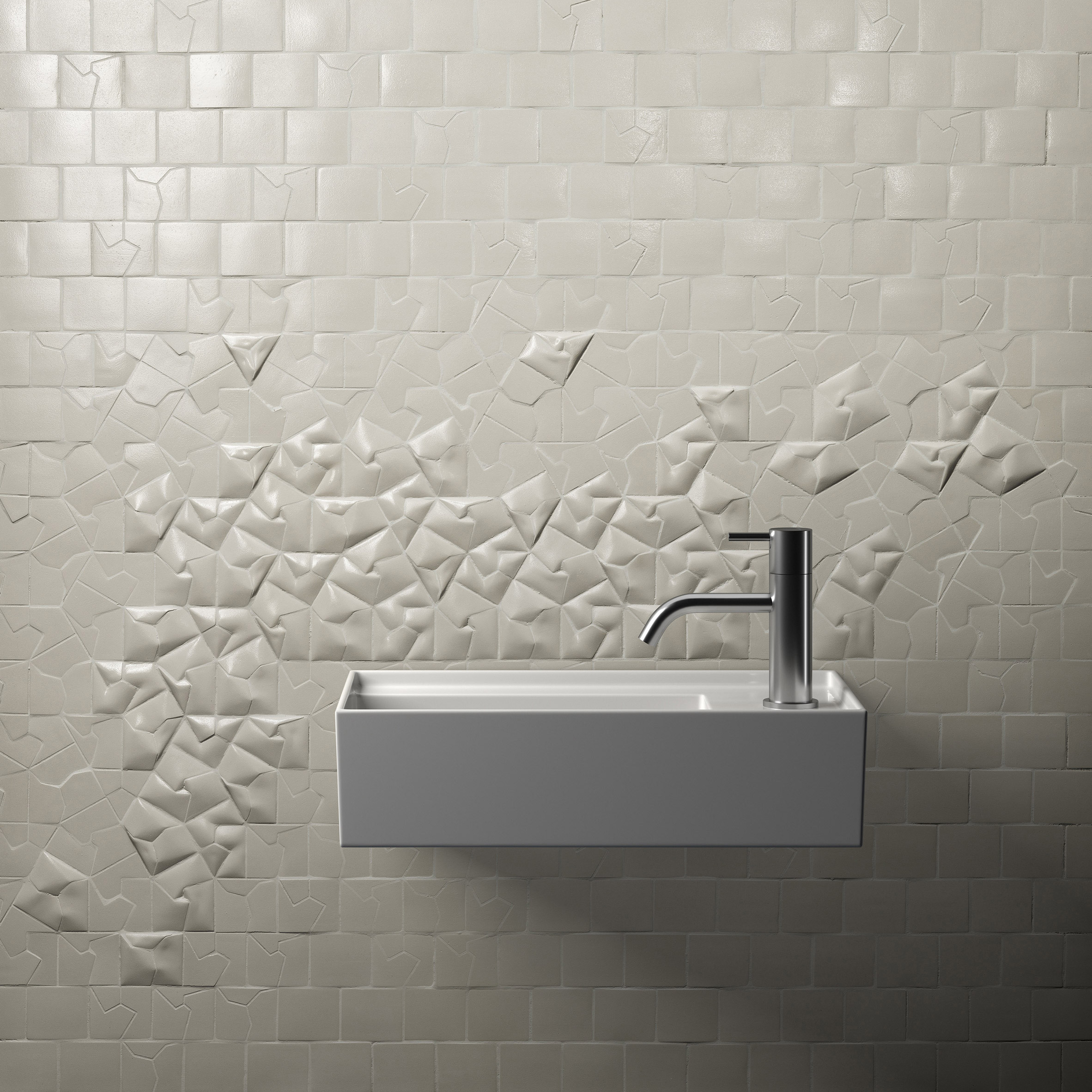 White Squar(e) tiles by Giovanni Barbieri on 3D wall