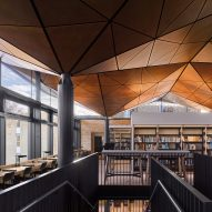 "Woods Bagot tops school library with ""tree-like"" timber ceiling"