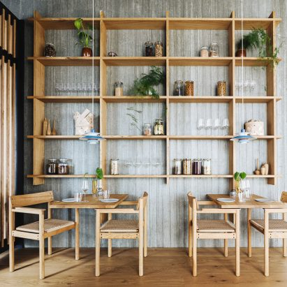 Pantry in Substans restaurant in Aarhus by Krøyer & Gatten