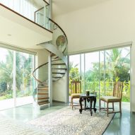 A double-height bedroom in an Indian house