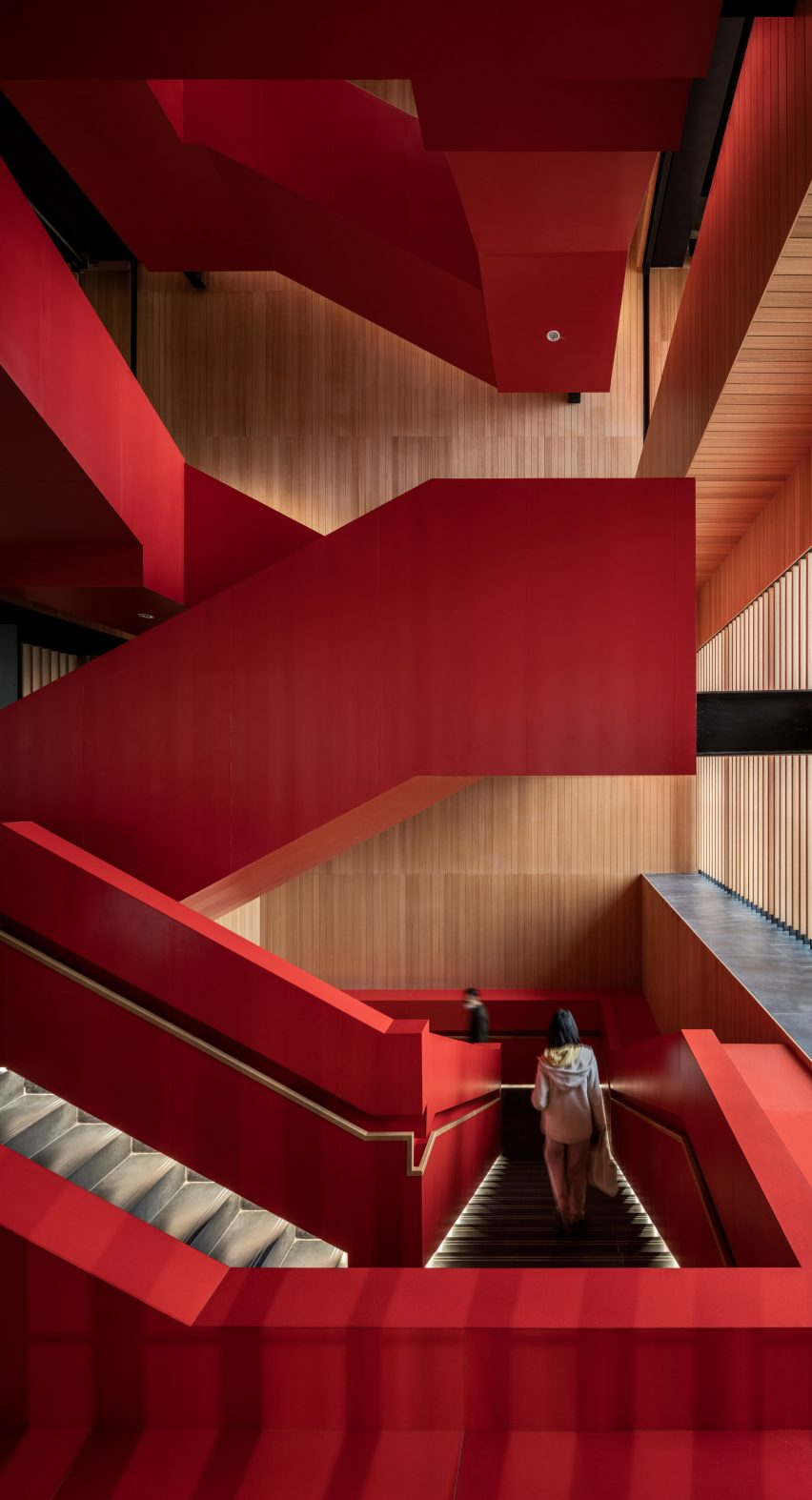 A bright red staircase