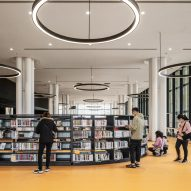 A yellow-floored library interior