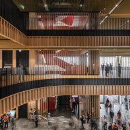 An atrium inside a public library